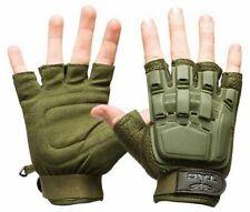 Valken V-Tac Half Finger Plastic Back Paintball Airsoft Gloves - Olive - Xl/2Xl