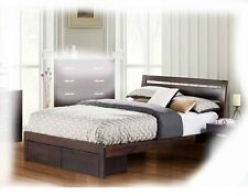 Marcos DOUBLE Size Chocolate Solid Timber Bed With Underbed Storage - BRAND NEW