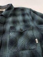 Vans Tailored Fit Plaid Flannel Shirt Flip Cuffs Pockets Logo Mens L Blue Black