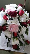 2pc set silk wedding  White, Lt Pink,  Burgundy & Red  Cascade bouquet and bout
