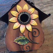 Metal Sunflower Decor Hanging Decorative Bird House Floral Farmhouse