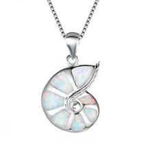 Fashion 925 Silver ammonite White Fire Opal Charm Pendant Necklace Chain