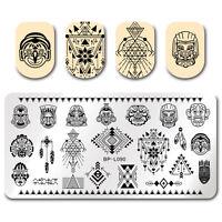 Nagel Stempel Schablone Nail Art National Stil Indianer Rechteck Bild Plates DIY