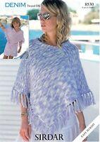 Sirdar Knitting Pattern Ladies Girls Poncho Tasselled DK 8530 4 Years + Easy