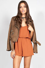 TopShop Rust Frill Front Playsuit by Oh My Love Size Small Brand New