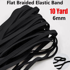 Flat Braided Elastic Band Black 6mm (1/4inch) 10 Yards DIY Sewing For Face Mask