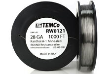 TEMCo Kanthal A1 wire 28 Gauge 1000 Ft Resistance AWG A-1 ga