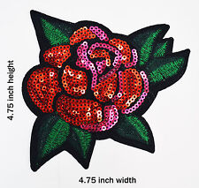 Rose Iron-On Sequinced & Embroidered Patch
