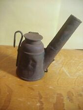 Owner Signed SC Antique COAL MINING  TIN TEAPOT Driver's CAP LAMP