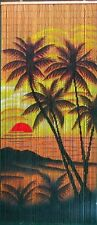 Beaded Door Curtains Bamboo Wall Hanging Drapes Room Divider Beads Palm Trees