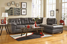 BROOKLYN Modern Living Room Gray Bonded Leather Sofa Couch Chaise Sectional Set