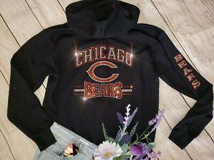 New Women's Chicago Bears Rhinestone Unisex Zip Up Jacket Hoodie Sz Small - 3X