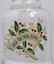 RARE BOUTEILLE verre émaillé XIXe EAU DE VIE FINE CHAMPAGNE houx
