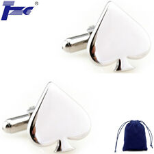 Fashion Cuff Links Men Stainless Steel Aces Card A Cufflinks With Velvet Bag