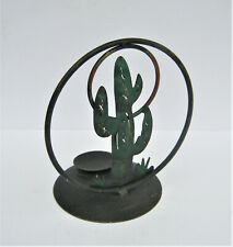 """METAL VOTIVE CANDLE HOLDER WITH CACTUS 8 3/4"""" TALL"""