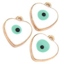 10x Gold Plated White Blue Enamel Evil Eye Pattern Heart Charms Alloy Pendants D