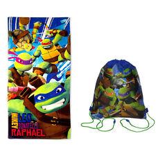 """Teenage Mutant Ninja Turtles Bath Pool Beach Towel 28""""X58"""" + Sling Backpack Bag"""