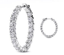 Hoop Oval shape Earring 36 x 0.20 ct 7.22 carat Round cut Diamond 14k White Gold