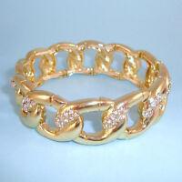Wide Gold Chain Chunky Links CZ Crystals NEW Stretch Statement Cuff Bracelet USA