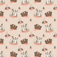 Fat Quarter Wilderness Rabbits Love on Ivory Cream 100% Cotton Quilting Fabric