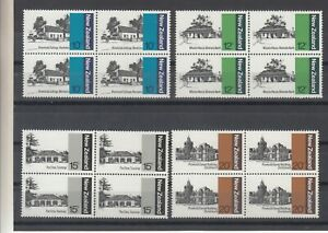 New Zealand: 1979 Architecture set of 4 in blocks of 4 L/Jury 634-637. MUH.Cheap