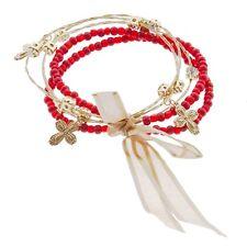 5PC Red Bead Gold Wire Clear Rhinestone Cross Charm Whisper Bracelet Jewelry Set
