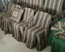 6 Lot Folding Chair Slip Cover Pillow Curtain Scarf Purple Black Tan Army Green