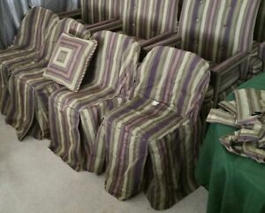 6 Lot Folding Chair Slip Cover Pillow Curtain Scarf Purple Black Tan Olive Green
