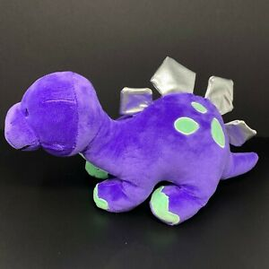 "Kellytoy Stegosaurus Dinosaur Plush Stuffed Animal 16"" Purple Green Spots Silver"