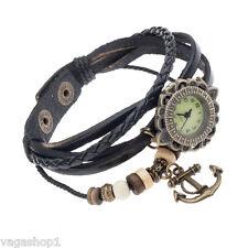 Ladies Quartz Wrist Watch Vintage Style Leather Band Bracelet Strap Charm