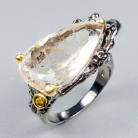 Handmade23ct+ Natural Rutilated Quartz 925 Sterling Silver Ring Size 8/R125186