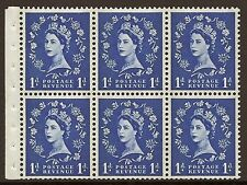 Sb41 1d Wilding booklet pane Blue phos on Cream perf type Ie Unmounted Mnt/Mnh