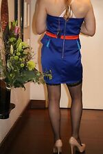 CD/TV Stunning Blue Peplum Glossy Removable Straps Lined Bust Short Dress SZ18