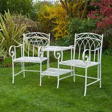 Cream Garden Bench Duo Love Seat Companion Chair Outdoor 2 Seater Ornate Design