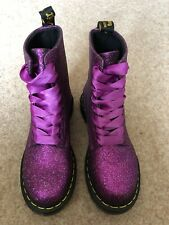 Dr martens pink Glitter Boots Ribbon Laces Size 3 BN New Shimmer