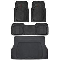 4pc All Weather Floor Mats & Cargo Set - Black Tough Rubber MOTORTREND Deep Dish