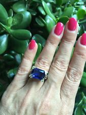 "NEW ""designer inspired"" Deep Blue Saph CZ Ring Floral detail & Pave Prong size 8"