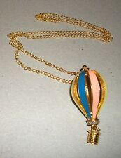 """Pastel Colored Enamel Hot Air Balloon Necklace ~ 12"""" chain"""