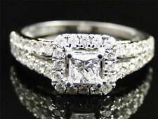 White Gold Princess Cut Solitaire Diamond Engagement Wedding Bridal Ring Set 1CT