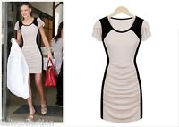 1960s Vintage Style Bodycon Cocktail Party Mini Draped Dress in Cream Black 6069