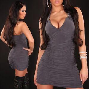 Womens Sexy Halter Neck Clubwear Bodycon Party Mini Dress size 10 12