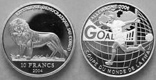 2004 Congo Large Silver Proof 10 fr Soccer world Cup