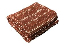 """African Bogolan Textile Brown and white Mud Cloth  62"""" by 43"""""""