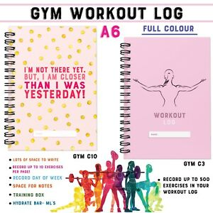 Workout Log Gym A5 Book, Fitness, Training Diary C3 Sets Reps Weights Record 500