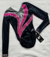 GK ELITE Leotard gymnastics SWAROVSKI RHINESTONE Competition PINK Black Sz: AXS