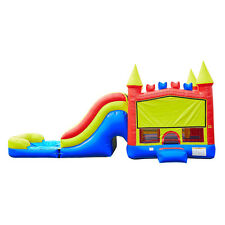Commercial Grade 13' x 35' Rainbow Wet Dry Combo Bounce House Waterslide Games