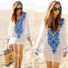 Boho Women Beach Dress Chiffon Crochet Bikini Cover Up Swimwear Bathing Suit New