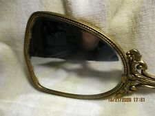 Vintage Victorian Ornate Brass Hand Mirror/Sm Crack towards top
