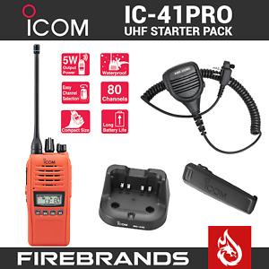 ORANGE ICOM IC-41PRO Two Way UHF CB Handheld Waterproof Radio IC 41 W Portable