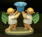 Wendt & Kuhn 2 Angels with Candle Holder Figurine C Wood Erzgebirge Germany Xmas